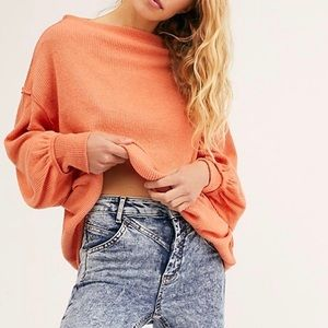 NWT Free People Main Squeeze Hacci Top Cayenne